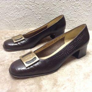 Salvatore Ferragamo croc embossed heels 6